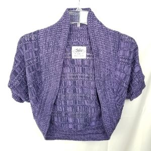 Justice for Girls Purple Crop Top Cardigan